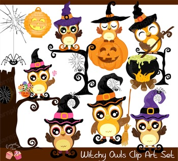 Halloween Witchy Witches Owls Clipart Set