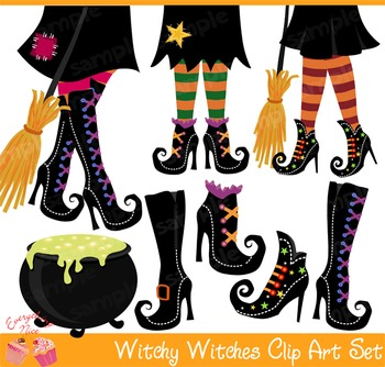 Halloween Witchy Witches Shoes Clipart Set