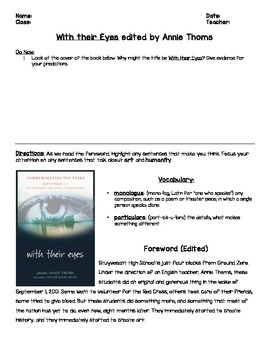 September 11th: With their Eyes by Annie Thoms Foreword an