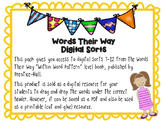 Within Word Pattern Digit Spelling Sorts 7-12 (short- and long-vowel sounds)