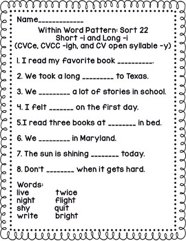 Words Their Way Within Word Pattern sort follow ups 7-22