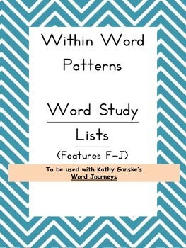 Within Word Pattern - Word Sort Lists for use with Word Journeys