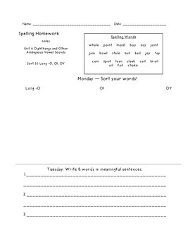 Within Word Unit 6 Homework