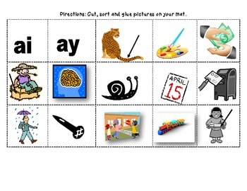 Within Word: ai, ay word study packet (differentiated with visual support)