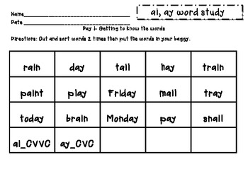 Within Word: ai, ay word study packet (differentiated with