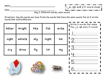 Within Word: i_e, igh and y=i word study packet