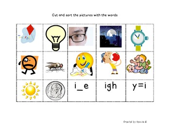 Within Word: i_e, igh and y=i word study packet (with visual support)