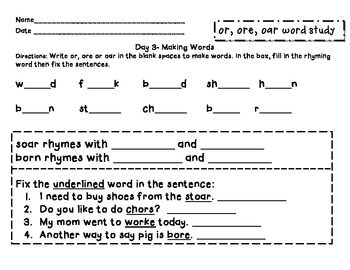 Within Word: or, ore and oar word study packet