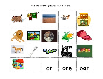 Within Word: or, ore and oar word study packet (with visual support)