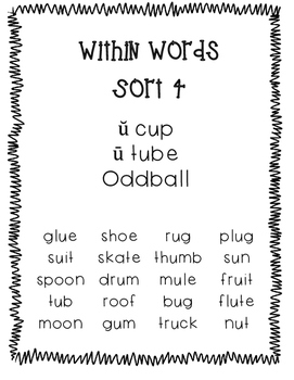 Words Their Way Within Words Sort 4 Long and Short Vowel U Words