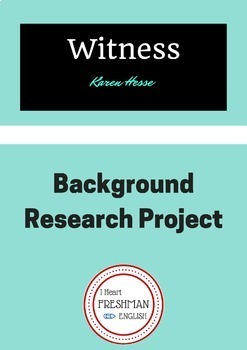 Witness by Karen Hesse Background Research Unit/Paper