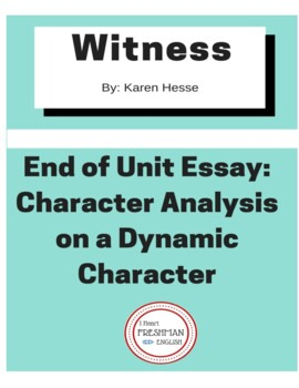 Witness by Karen Hesse End of Unit Paper- Character Analysis