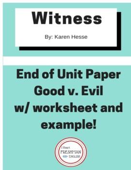 Witness by Karen Hesse Good v. Evil End of Unit Paper