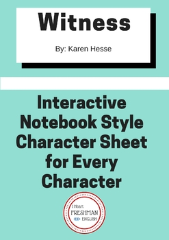 Witness by Karen Hesse Interactive Notebook Style Character Sheet