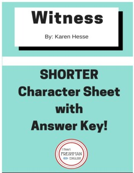 Witness by Karen Hesse SHORTER Character Sheet for Novel with Key