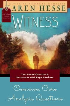 Common Core Aligned Analysis Questions for Witness by Karen Hesse
