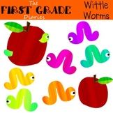 Wittle Worms {Digital Clip Art}  Apple Book Worm