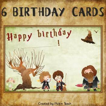 Wizard BIRTHDAY CARDS For Harry Potter Fans By Pickn Teach