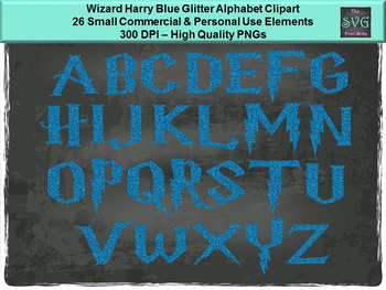 Wizard Harry Blue Glitter  - PNG Alphabet Digital Fonts