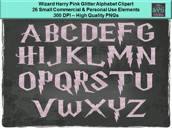 Wizard Harry Pink Glitter - PNG Alphabet Digital Fonts