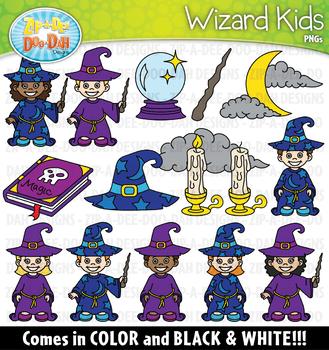 Wizard Kids Clipart Set {Zip-A-Dee-Doo-Dah Designs}