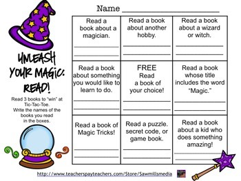 Wizard (Magic) Reading Encouragers- Reading Logs, Bookmarks, Posters