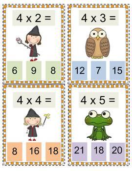 Wizard Multiplication Clip It Practice Cards