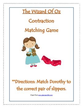 Wizard Of Oz Contraction Matching Game
