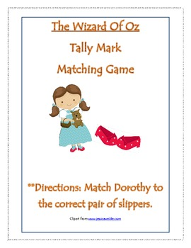 Wizard Of Oz Tally Mark Matching Game