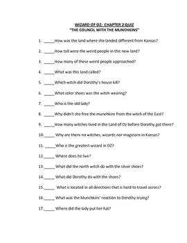 Wizard Oz original bk ch quizzes