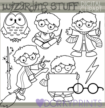 Wizard School Black Line Clipart