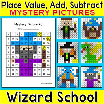 Math Morning Work - Wizard School Mystery Pictures - Hundr