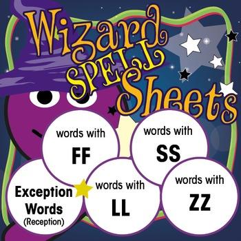 Wizard Spell Sheets: Sight Words/FF/LL/SS/ZZ: Yr 1 Bundle 1