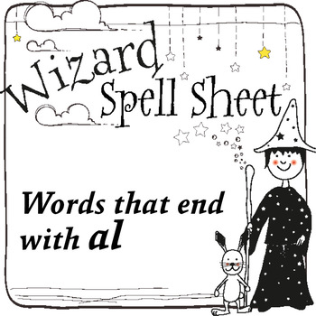 Wizard Spell Sheets: Words that end with al