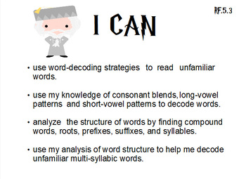 "Wizard Theme ""I CAN"" Statements - G5 Reading & Writing"