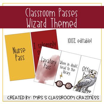Wizard Themed Classroom Passes-EDITABLE