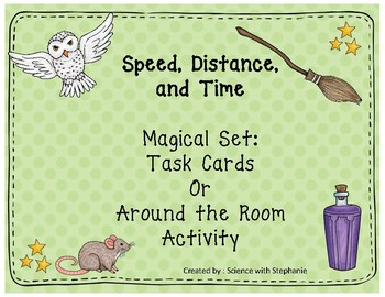 Wizard Themed Speed, Distance, and Time Task Cards or Around the Room Activity