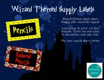 Harry Potter Supply Labels