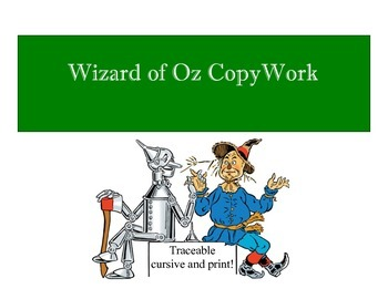 Wizard of OZ Copywork