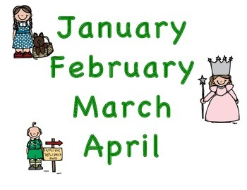 Wizard of OZ Months Calendar Chart