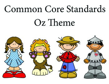 Wizard of Oz 1st grade English Common core standards posters