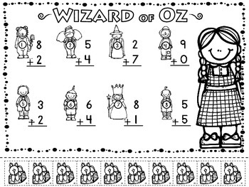 Wizard of Oz Adding & Subtracting Practice Sheets (10) w/ manipulative pieces