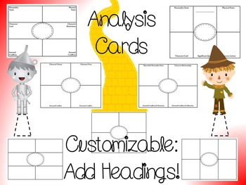 Wizard of Oz Character Analysis Pop-Ems
