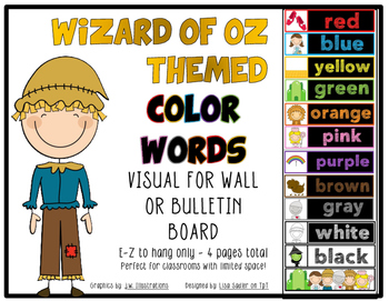 Wizard of Oz Color Words- Wall or Bulletin Board Display