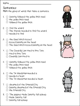 Wizard of Oz Complete and Incomplete Sentences
