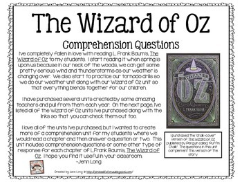 Wizard of Oz Comprehension Questions by A Pirate\'s Life for Us | TpT