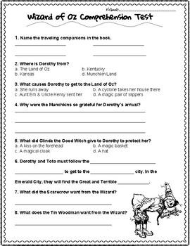 Wizard of Oz Comprehension Test