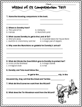 Wizard of Oz Comprehension Test with added Vocabulary Test
