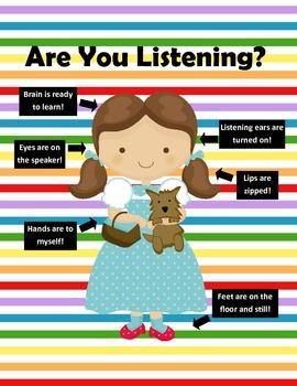 Wizard of Oz Dorothy Good Listening Reminder Poster