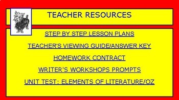 Wizard of Oz/ Elements of Literature Interactive Unit/ Movie and Novel Guide